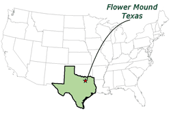 A map of the United States highlighting Flower Mound.