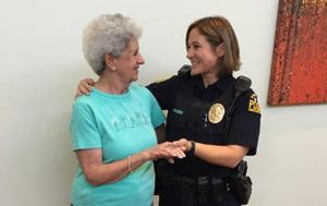 Officer Hooper Speaking with a Flower Mound Senior