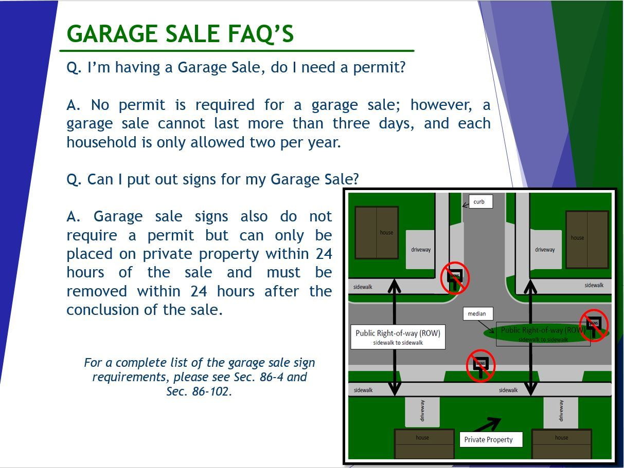 garage sale guidelines garage sale row signs