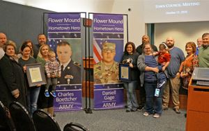 Two Flower Mound locals that are in the Army were honored by Mayor Dixon at the October 15 Town Coun