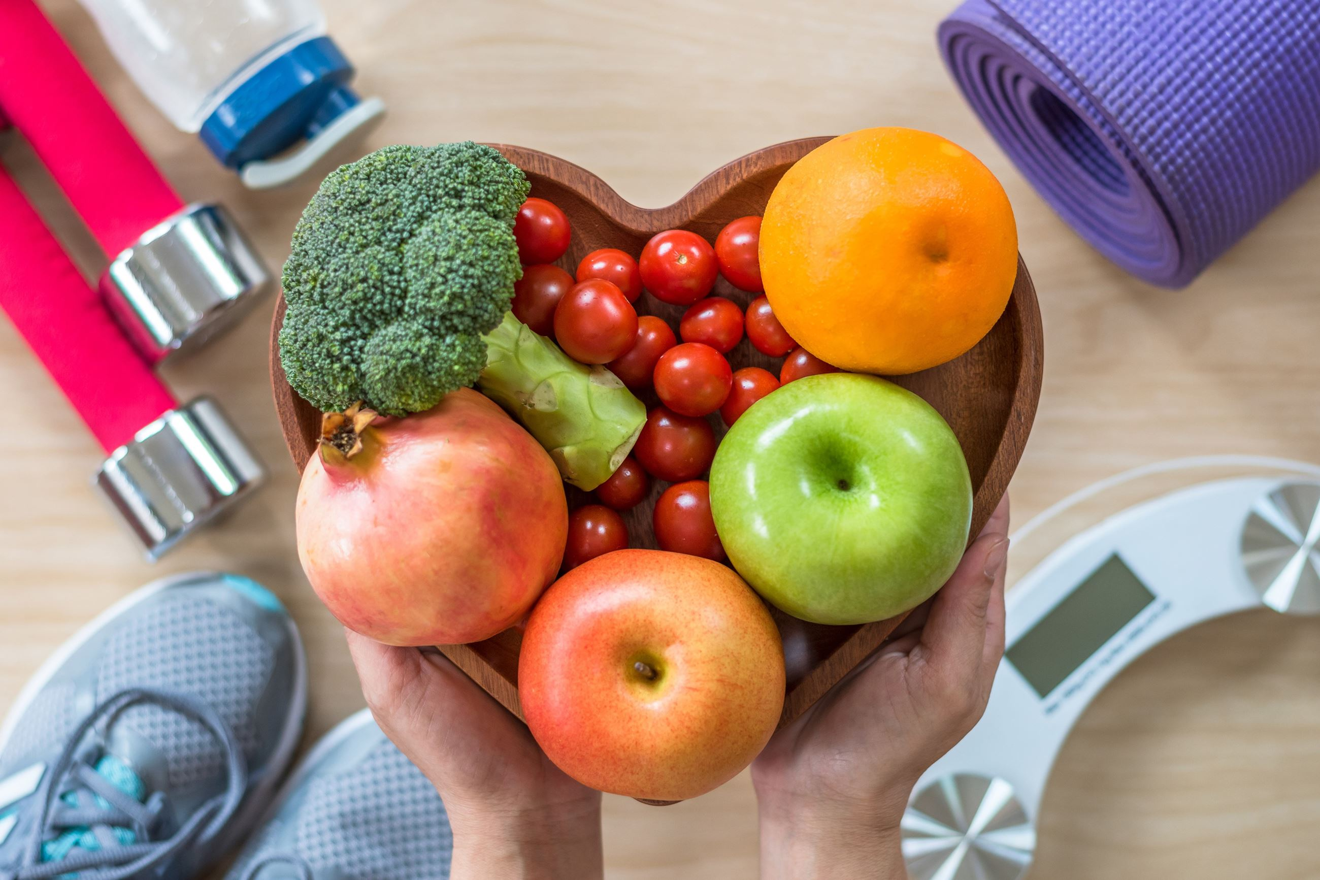 Workout equipment, fruit, and vegetables