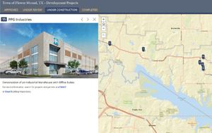 Town of Flower Mound Development Map screenshot of PPG Paints location
