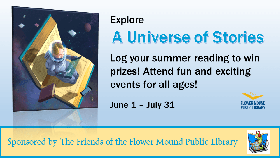 Summer Reading Challenges and events for all ages will begin on June 1. Sponsored by the Friends of