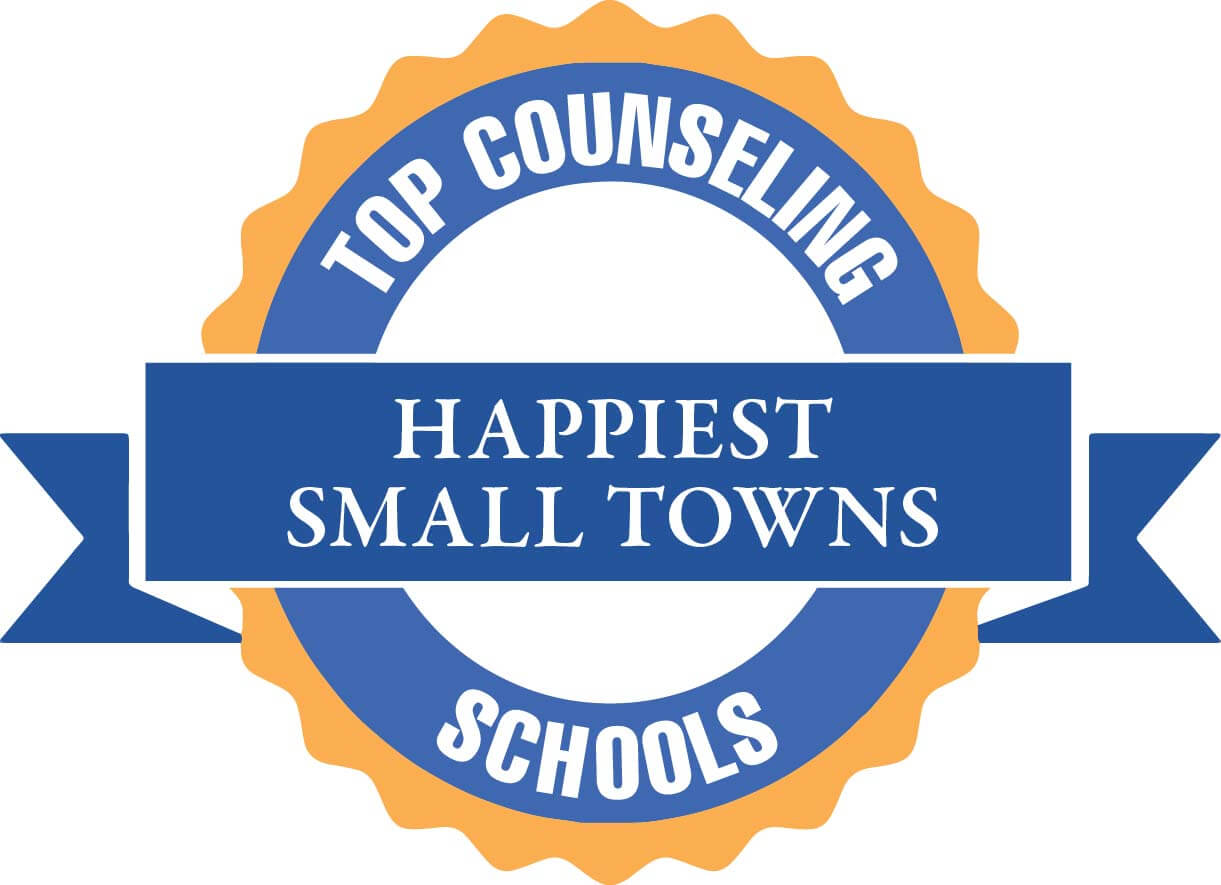 "graphic that says ""Top Counseling Schools Happiest Small Town"""
