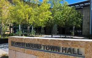 photo of outside of Flower Mound Town Hall with trees in the background