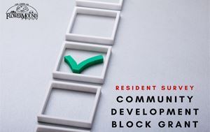 graphic saying resident survey community development block grant with the town of flower mound logo