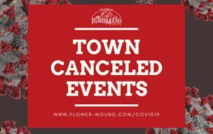 "graphic that says ""Town Canceled Events"" with coronavirus images in the background"