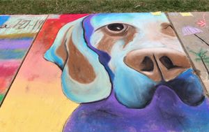 chalk art drawing of a dog