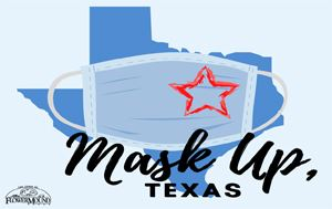 Mask Up Texas graphic with state of Texas, a mask, and Town of Flower Mound logo