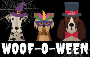 Woof-o-Ween graphic with three dogs dressed in different costumes