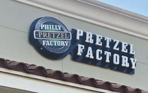 Philly Pretzel Factory sign above the shop