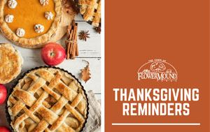 graphic with photos of pie that says Thanksgiving Reminders