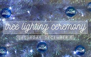 graphic of a blue Christmas tree that says tree lighting ceremony December 5