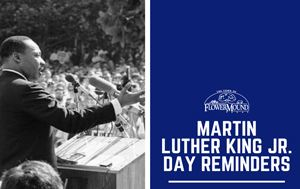 photo of Martin Luther King Jr. with MLK Day Reminders graphic