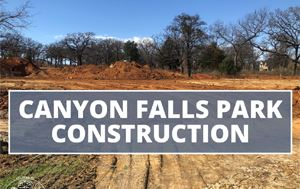 graphic of construction with text saying &#34Canyon Falls Park Construction&#34