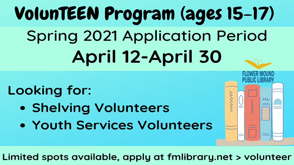 The application for the VolunTEEN program is open April 12-30. Visit our Volunteer page for details!