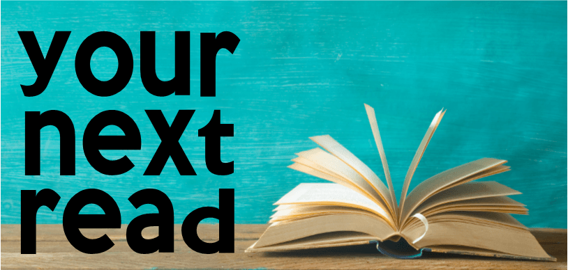 Your Next Read text on banner image with book